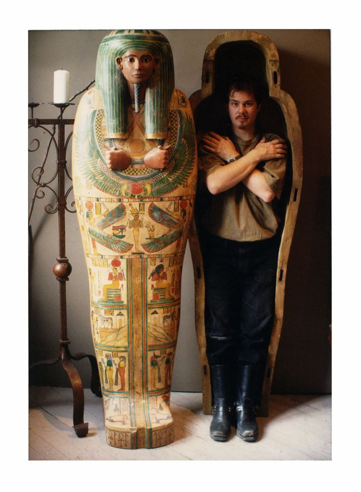 Egyptian Revival mummy coffin- I made in 1997 for the Witches dungeon Horror Museum.   I used a reference photo from the Metropolitan Museum of Art as a guide to sculpt the form out of Dow rigid foam, then mixed glue & Spackle to hard coat, burlap for interior, shellac, acrylic paint, poly-acrylic on exterior... and over 100 hours to finish.