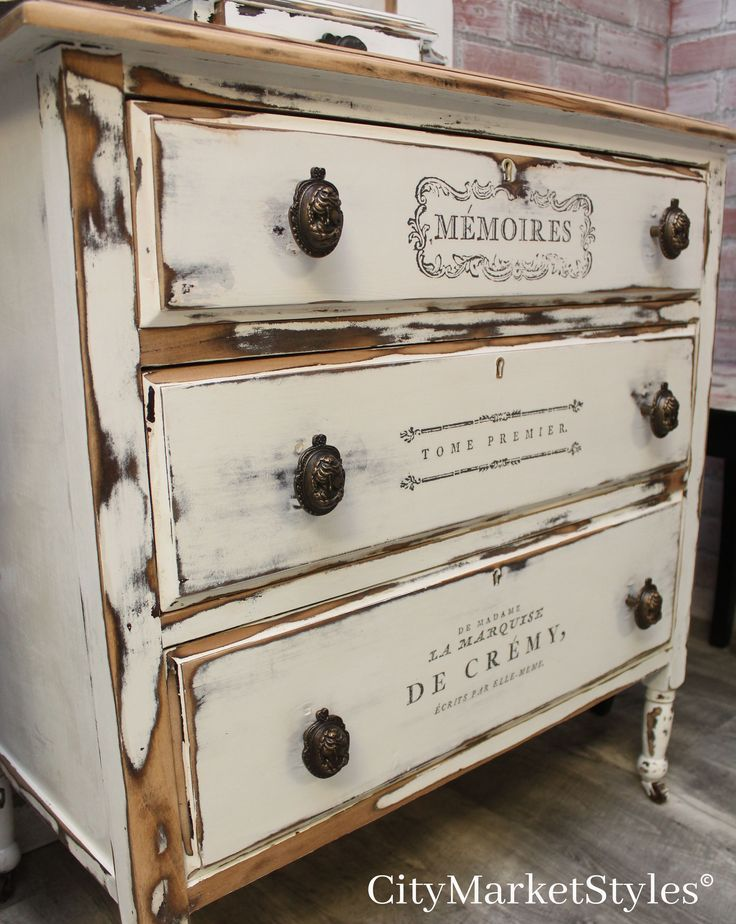 Rustic antique painted chest of drawers with IOD transfers and cameo pulls. By C…