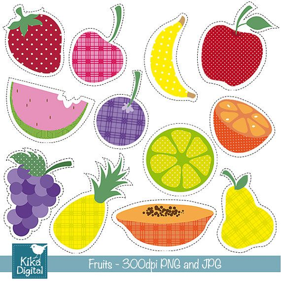 INSTANT DOWNLOAD Rainbow Fruits Clipart  Digital by kikaesteves, $4.00