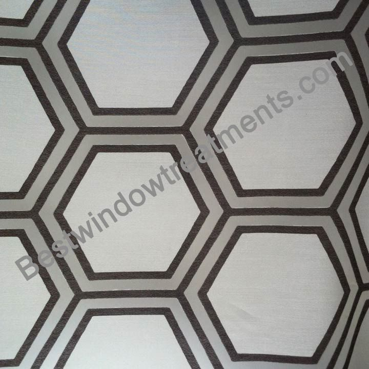 "Renegade Burnout Chocolate Brown color on white sheer fabric ready-made Draperies | honeycomb tile pattern  : 108"" or 120"" inch curtains 