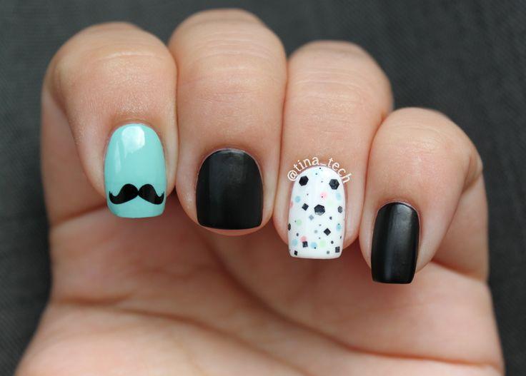 mustashe nail art