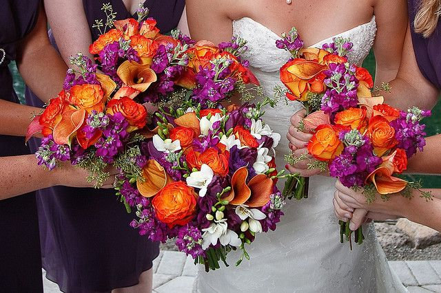 purple and orange: Orange Wedding, Wedding Ideas, Wedding Bouquets, Purple Flowers, Wedding Flowers, Purple Wedding, Wedding Colors, Theme Wedding, Orange Flowers