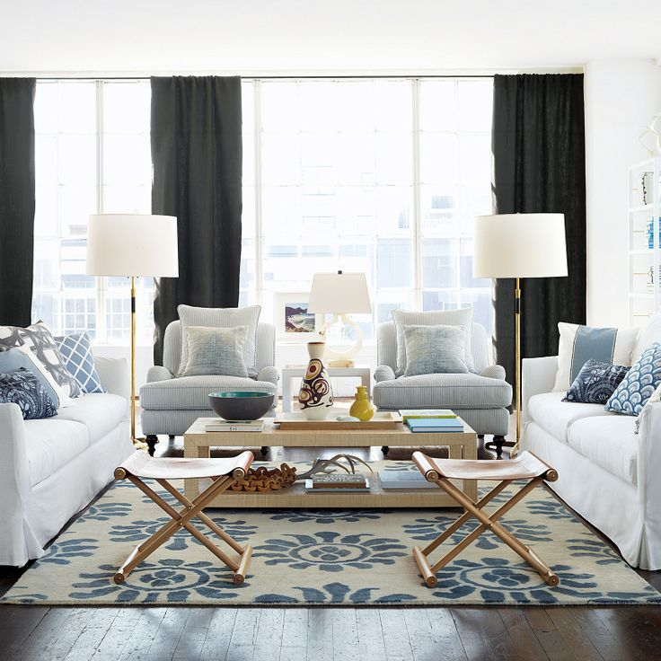 relaxed blue and white living room