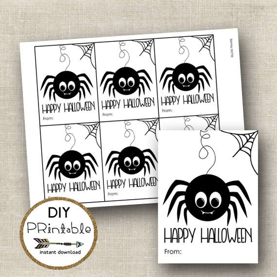 Printable Halloween Tags / Spider Printable Gift Tag /