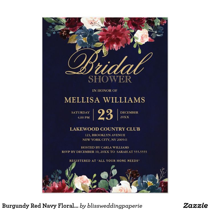 Burgundy Red Navy Floral Rustic Boho Bridal Shower Invitation | Zazzle.com