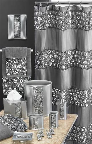 Sinatra silver grey fabric window curtain w sequins for Blue and silver bathroom accessories
