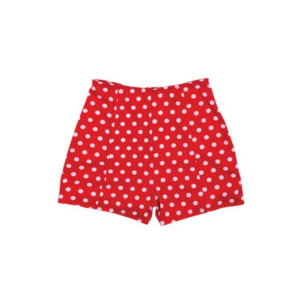 Red High Waist Polka Dot Short ($21) ❤ liked on Polyvore featuring shorts, bottoms, pants, red, view all shorts, high-waisted shorts, stretch shorts, high rise shorts, stretchy shorts and knit shorts