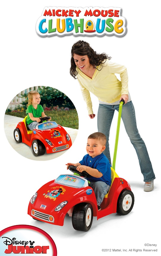 Power Wheels® Mickey Mouse Clubhouse Tot Rod - Handle helps you steer until your little one is ready to take over.