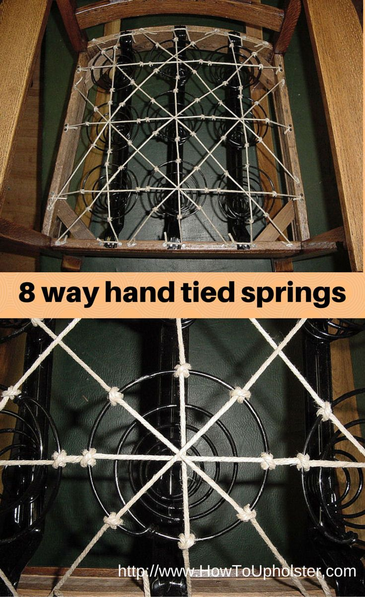 Illustration of 8-way hand tied springs used in upholstered furniture seats.