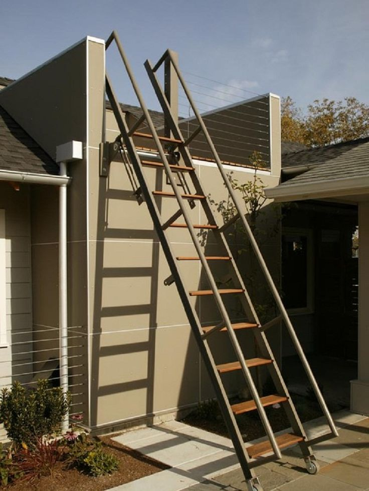 Contemporary Movable Outdoor Patio Ladder Decor Stairs