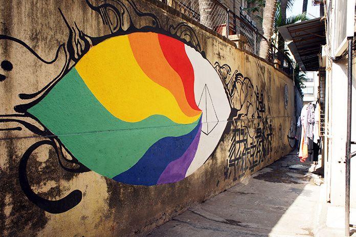 Street art in Pali Hill, Bandra, Mumbai.