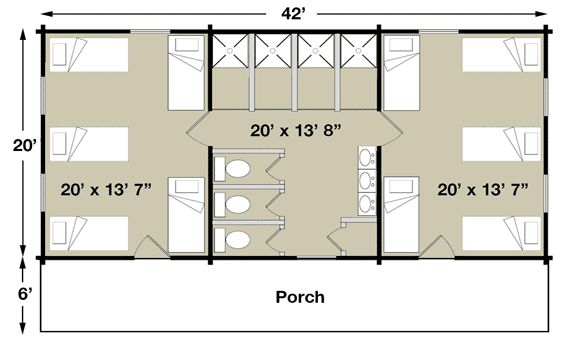 Bunk House  half 18X22=396  I love this plan!  I think the building at WH would accommodate this plan.