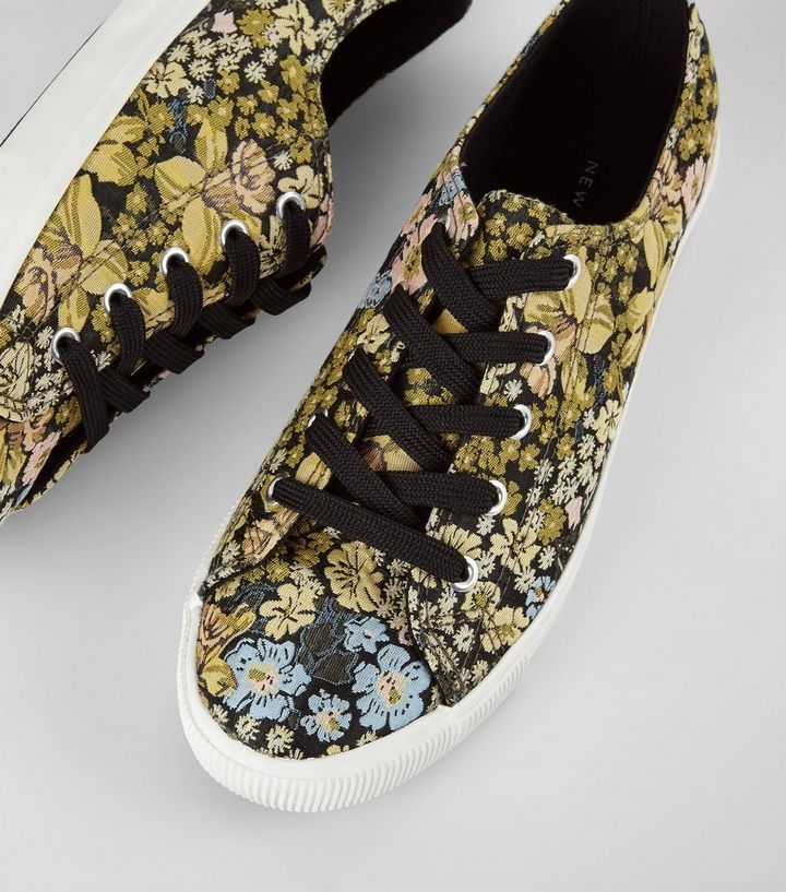 L2017 http://www.newlook.com/row/womens/footwear/shoes/black-floral-brocade-lace-up-trainers/p/538093299?comp=Browse