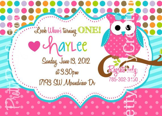 GIRL polka dot owl Birthday or baby shower by PrettyPartyCreations, $11.00