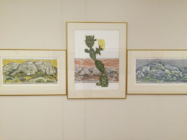 Marion Arnold (1947- ); The View.  Pastel triptych on paper at the Rupert Art Museum in Stellenbosch