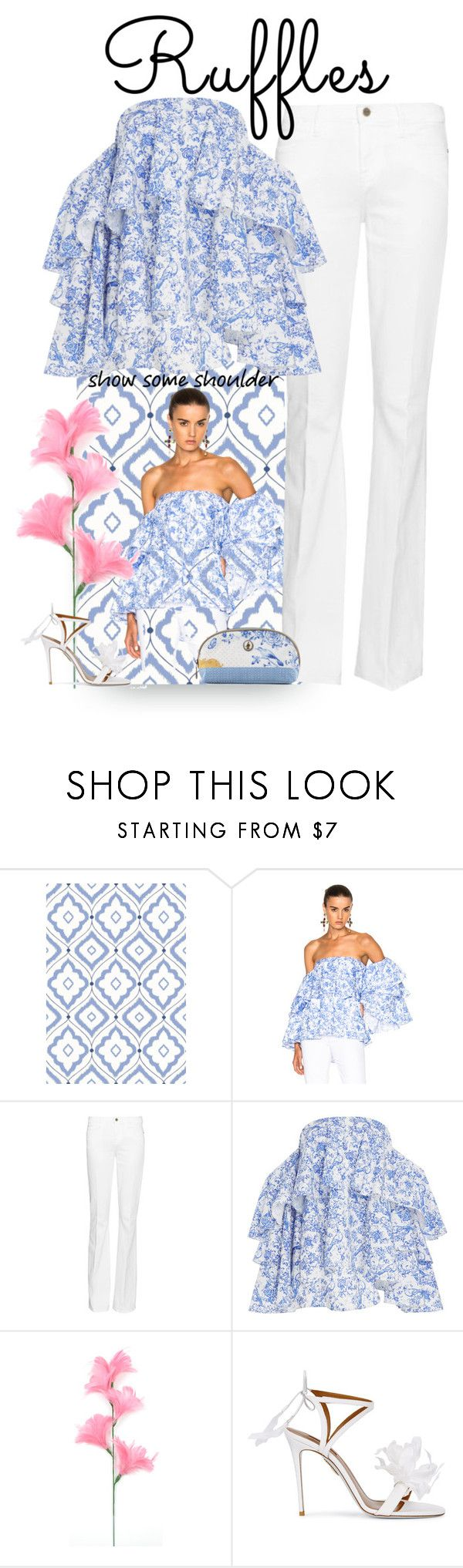 """""""Add Some Flair: Ruffled Tops"""" by easy-dressing ❤ liked on Polyvore featuring Thibaut, Caroline Constas, Frame, Aquazzura and PiP Studio"""