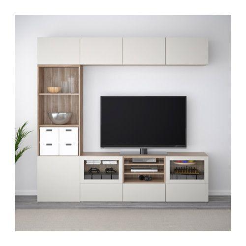 BESTÅ TV storage combination/glass doors - walnut effect light gray Lappviken/light gray clear glass, drawer runner, push-open - IKEA