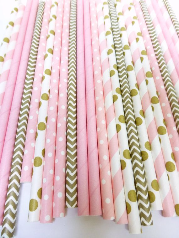 Pink and Gold Party Decor Pink Paper Straws by GlitterMeSweet