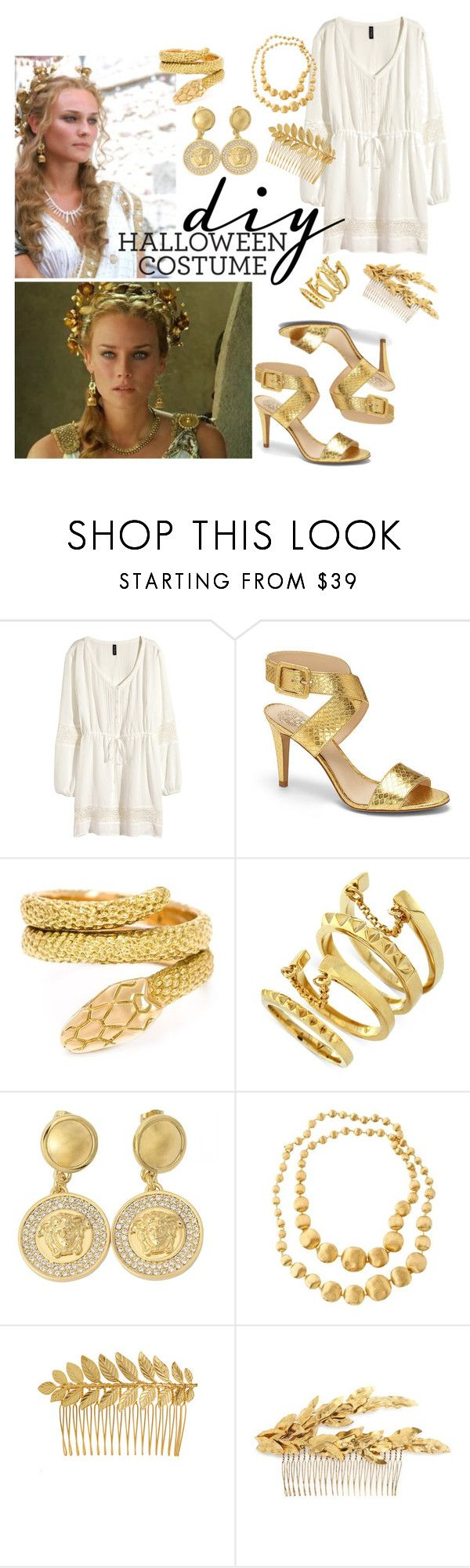 """Costume: Helen of Troy"" by tharwawajihahzainal ❤ liked on Polyvore featuring H&M, Helen of Troy, Vince Camuto, Cartier, Versace, Marco Bicego, Ellen Hunter, J.Crew, DIY and movies"