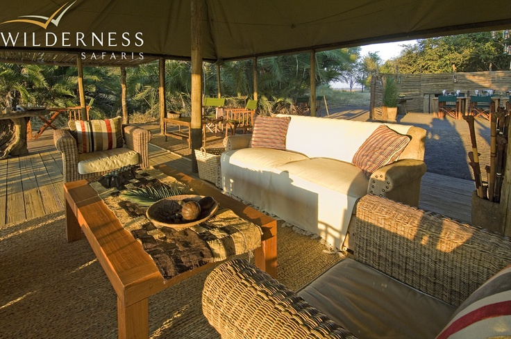 Busanga Bush Camp - The lounge area is under canvas looking out over the plains. #Safari #Africa #Zambia #WildernessSafaris