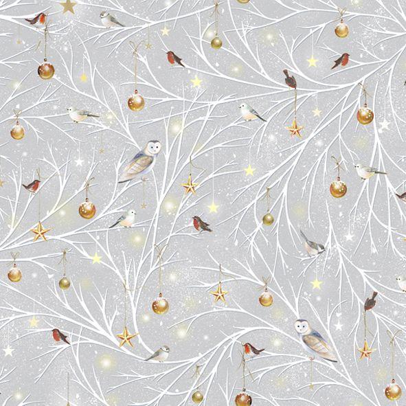 Vánoční bavlněná látka Ptáčci na šedé