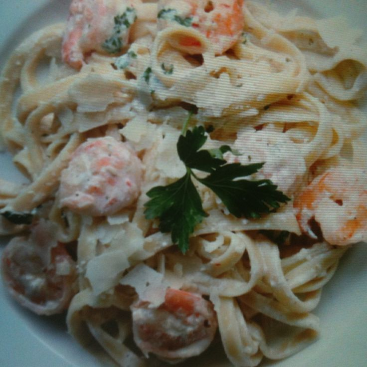 I've devised this recipe, so that you can make the fettuccine with either shrimp or chicken. My family loves it made both ways. It's also a great dish to make for company.