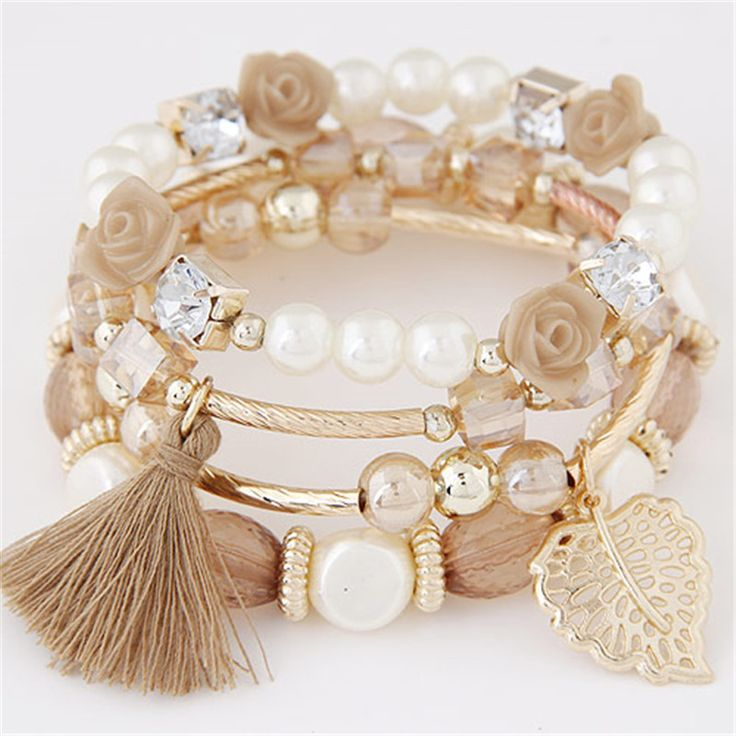 Aliexpress.com : Buy 2016 Bohemian Candy Color imitation Pearl Rose Flower Beads Bracelet Stretch Charm Bracelets & Bangles For Women pulseras mujer from Reliable bangle bracelet holder stand suppliers on Caier Jewelry | Alibaba Group