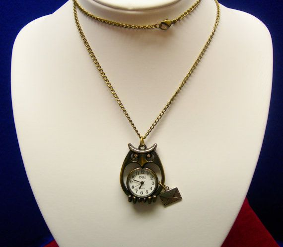 Hedwig Owl Howler Gram Unisex Watch Necklace in by mythicaljewelry, $24.95
