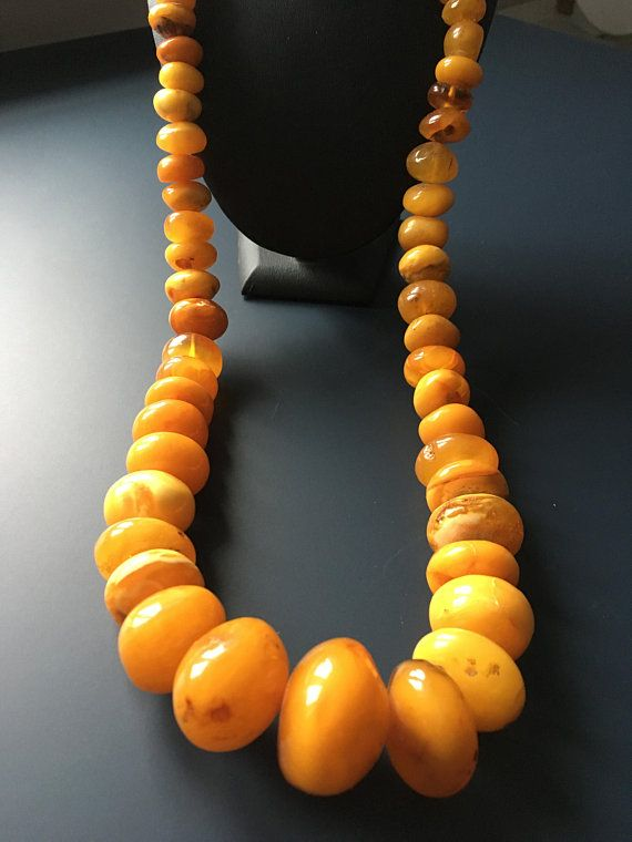 Baltic amber vintage neckleace donut vintage beads Natural amber donut beaded neckleace Yellow orange amber big donut beads Massive neckless