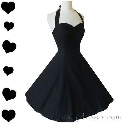 New Classic Retro Black Halter Dress Flirty Fun Swing Skirt
