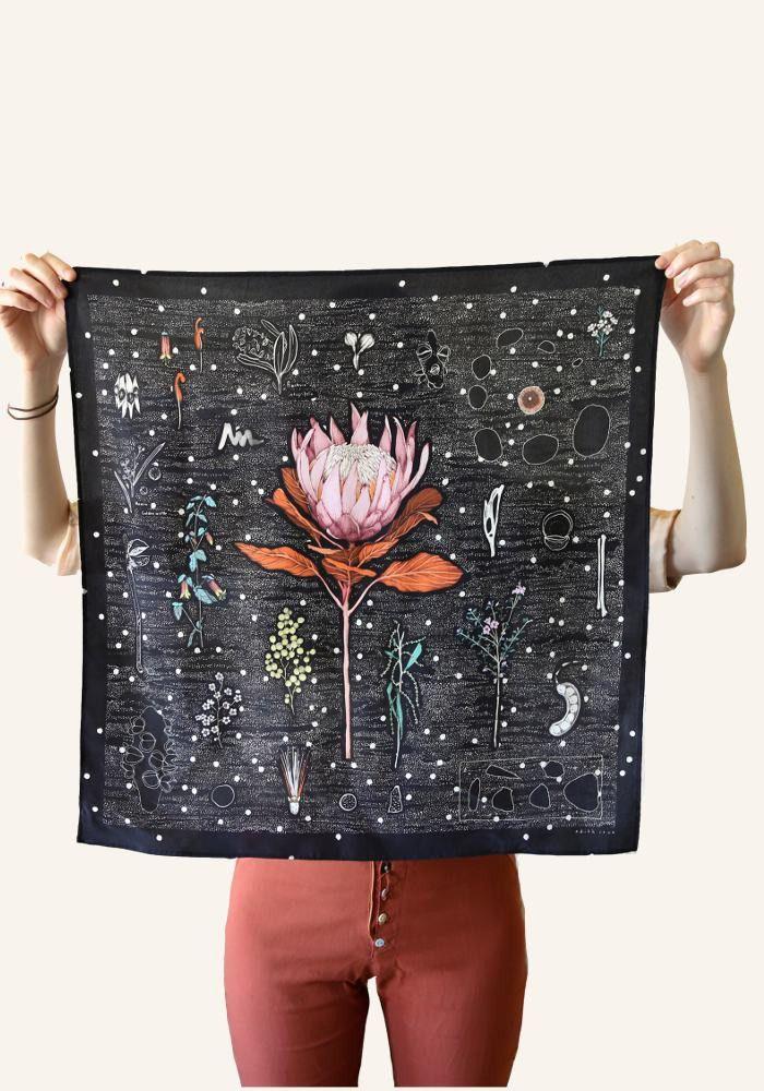 'Edith Rewa printed silk scarf of King Protea. Made in Australia'