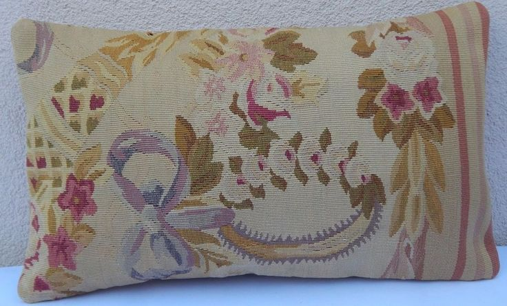 Needlepoint Pillowcase ,Bedding Decor Aubusson French Tapestry Pillow  12x20'' #Handmade #FrenchCountry
