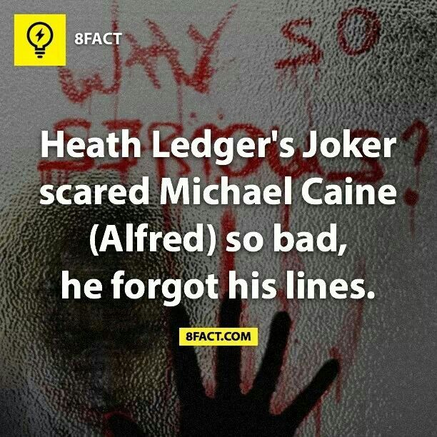 In the scene where the Joker crashes the Dent fundraiser, Caine had a line right after the elevator opens. When Ledger stepped out, Caine forgot his lines because it was his first time seeing the Joker in character and in costume. Awesome!