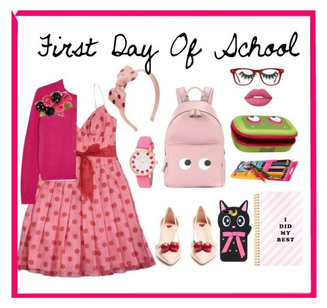 """First Day of School"" by digsystuff on Polyvore featuring Kay Unger New York, RED Valentino, Anya Hindmarch, ZIPIT, Paul Smith, Gucci, Ace, Violet Voss, Lime Crime and Miss Selfridge"