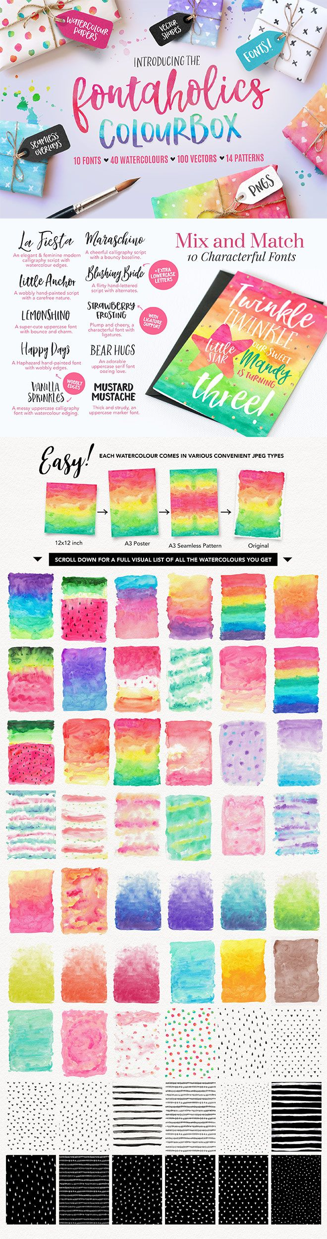 How gorgeous are these hand lettered fonts and watercolour textures? This pack even comes with extra hand-drawn vectors and pattern overlays. Imagine all the beautiful greeting cards, stationery, invitations and other designs you can create with these resources...
