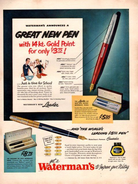 1950 Waterman's Fountain Pen vintage print ad by catchingcanaries on Etsy https://www.etsy.com/listing/193359077/1950-watermans-fountain-pen-vintage