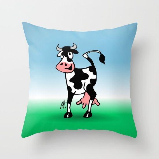 Cow throw pillow. #Society6 #cow #pillow #throwpillow #Cardvibes #Tekenaartje #SOLD