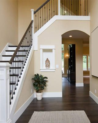 need this color on the walls near the stairs and that banister; now that the floors are done everything else needs updating!