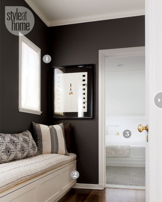 A black dressing room with cream accents