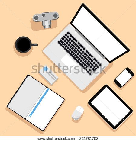Top view of workplace with laptop, tablet, camera, smartphone, stationery and documents. Raster version  - stock photo