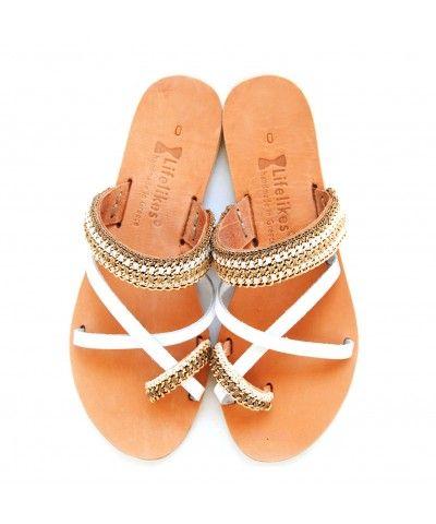 Mykonos sandals white lether, crocket chain sandals