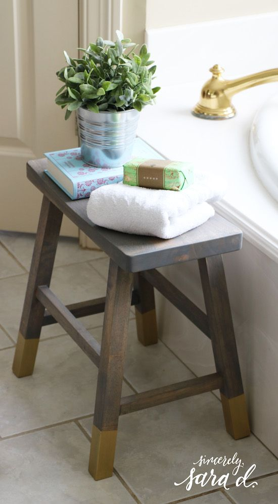 Love the idea of using a stool next to the tub.  It not only looks pretty, but it's functional.  (Blogger shares tutorial for making this stool!)