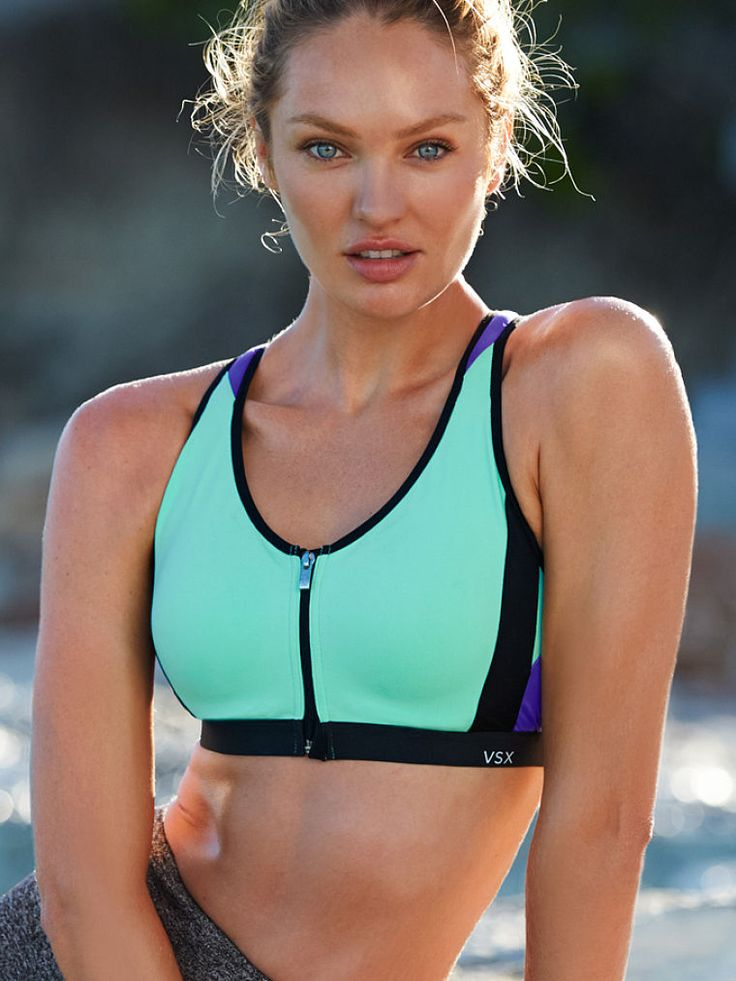 Our kind of gym scene: plenty of fresh air and lots of support. | Knockout by Victoria's Secret Front-Close Sport Bra