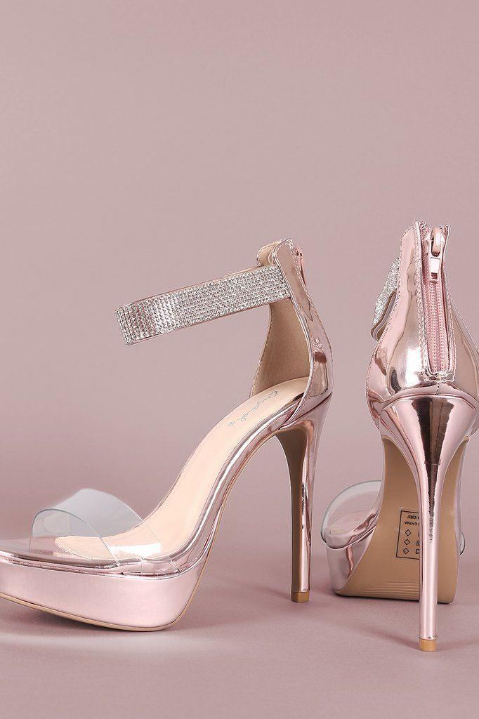 de81e6139d9 Qupid Shiny Metallic Rhinestone Ankle Strap Stiletto Platform Heels ...