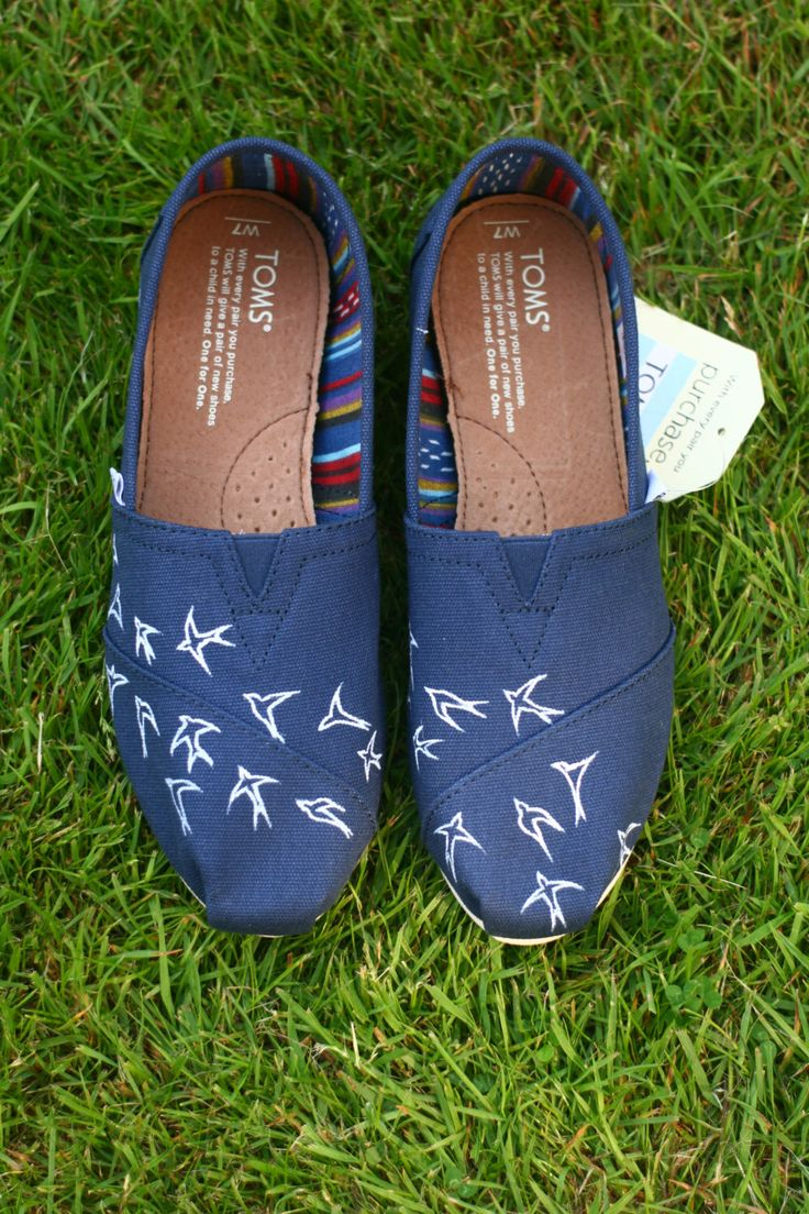 Swallow design Navy blue Toms shoes by RhibrieShoes on Etsy https://www.etsy.com/listing/399234165/swallow-design-navy-blue-toms-shoes