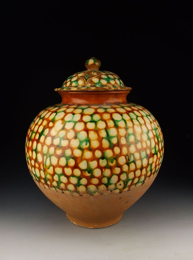Tang Dynasty Tri-colored Pottery Lidded Jar