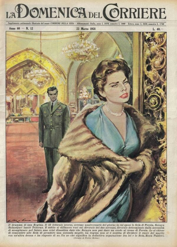 Shah & Soraya - cover of an edition of Italy's La Domenica del Corriere from March 23, 1958 By Atieh S ‏@AtiehS on Twitter.