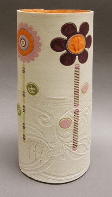 Naomi Flowers - Grogged white stoneware slab built cylinder pot, impressed and incised detail, slip, underglaze a ceramic pencil decoration approx size 34x14cms