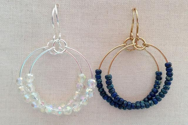 Make hoop earrings to match every outfit with this easy bead and wire design: Easy Wire Hoop Earrings with Beads