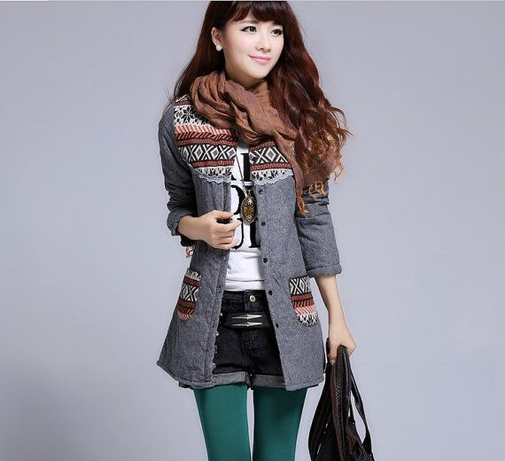 Vintage Cotton Padded Jacket quilted jacket Coat Christmas Wear unusual winter coat Grey On Sale
